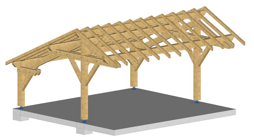 Abri r gion auvergne kit charpente bois for Kit da garage a 4 canali